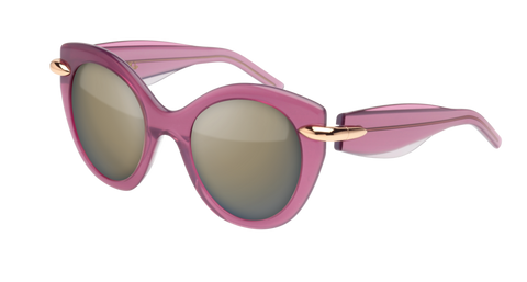 Pomellato - PM0004S 50mm Violet Sunglasses / Grey Brown Lenses