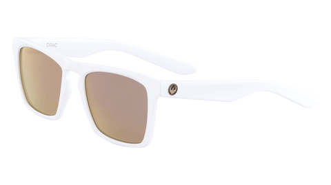 Dragon - Drac LL 53mm Matte White Sunglasses / Lumalens Rose Gold Ion Lenses