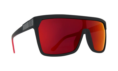 Spy - Flynn Soft Matte Black + Red Fade Sunglasses / Happy Gray Green + Red Flash Lenses