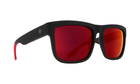 Spy - Discord Soft Matte Black + Red Fade Sunglasses / Happy Gray Green + Red Flash Lenses