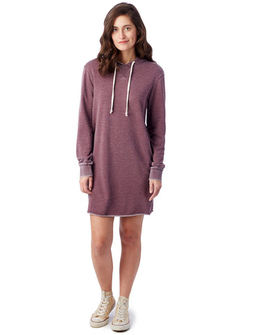 Alternative Apparel - Day Off Burnout French Terry Hoodie Wine Dress