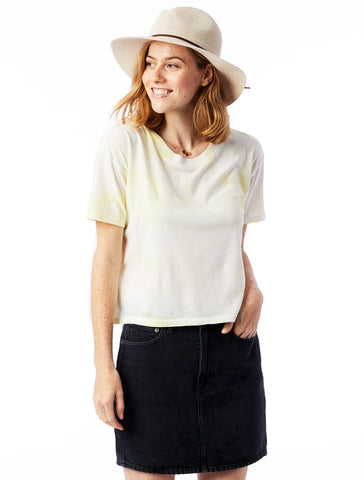 Alternative Apparel - Tie-Dye Cropped Garment Dyed Pale Yellow T-shirt