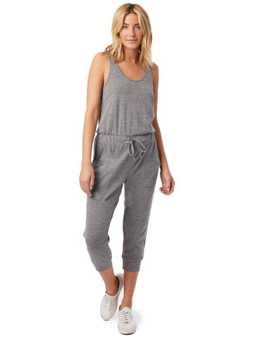 Alternative Apparel - Cropped Eco-Jersey Lounge Eco Grey Jumpsuit