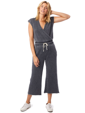 Alternative Apparel - Cross Front Burnout French Terry Washed Black Jumpsuit