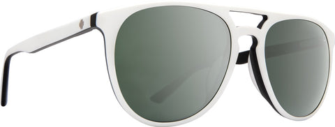 Spy - Syndicate Matte White + Black Sunglasses / Happy Gray Green + Silver Spectra Lenses