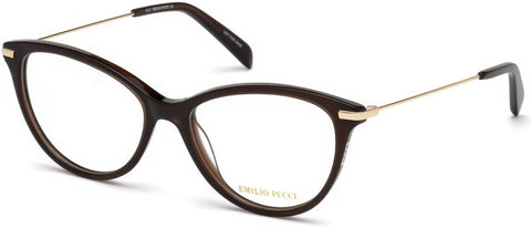 Emilio Pucci - EP5082 Shiny Dark Brown Eyeglasses / Demo Lenses