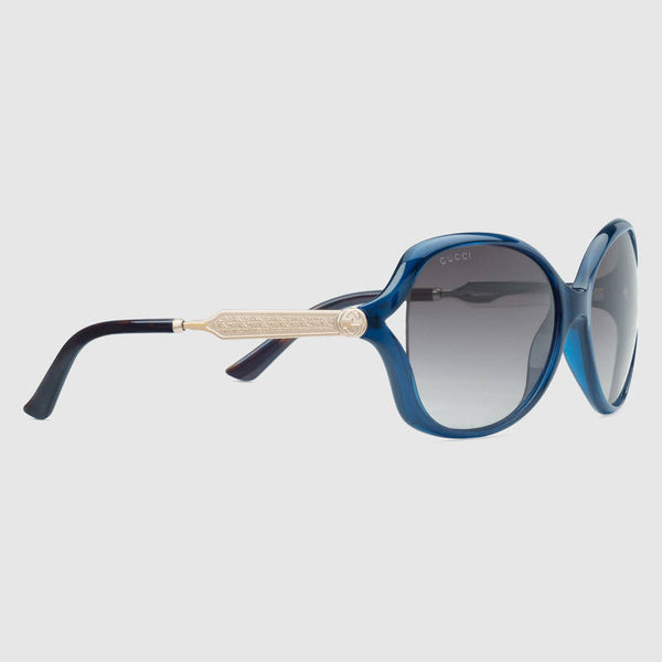Gucci - GG0076S Opale Blue Sunglasses, Grey Lenses