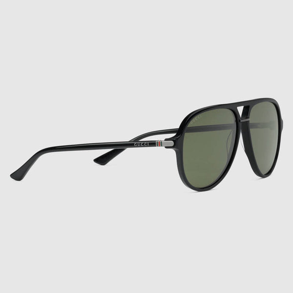 Gucci - GG0015S Black/Ruthenium Sunglasses, Green Lenses