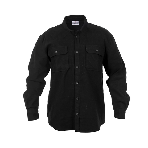 Rothco - Extra Heavyweight Buffalo Solid Black Flannel Shirt