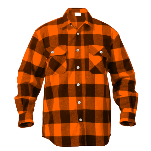 Rothco - Extra Heavyweight Buffalo Plaid Orange Flannel Shirt