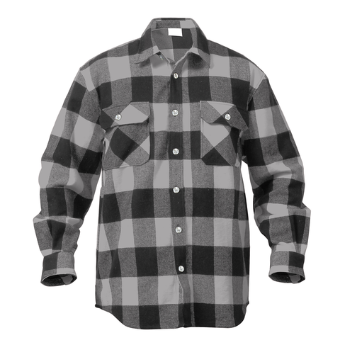 Rothco - Extra Heavyweight Buffalo Plaid Grey Flannel Shirt
