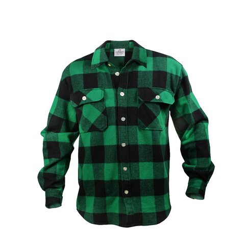 Rothco - Extra Heavyweight Buffalo Plaid Green Flannel Shirt