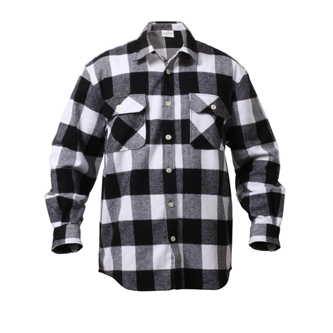 Rothco - Extra Heavyweight Buffalo Plaid White Flannel Shirt