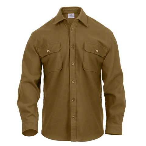 Rothco - Extra Heavyweight Buffalo Solid Coyote Brown Flannel Shirt