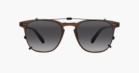 Garrett Leight - Brooks 47mm Black Clip-On Shield / Silver Mirage Mirror Lenses