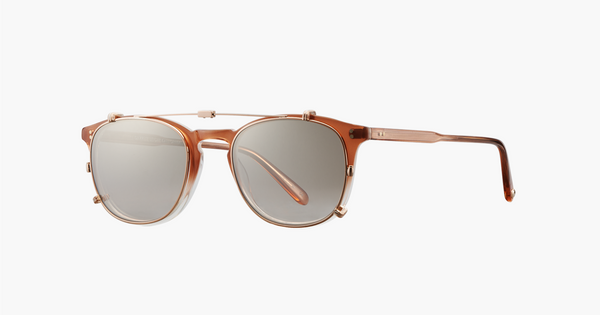 Garrett Leight - Kinney Rose Gold Clip-On Shield / Dust Mirror Lenses
