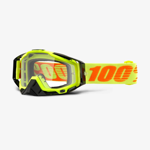 100 Percent - Racecraft Attack Yellow MX Goggles / Red Mirror + Clear Lenses