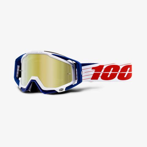 100 Percent - Racecraft Bibal White MX Goggles / Gold Mirror + Clear Lenses