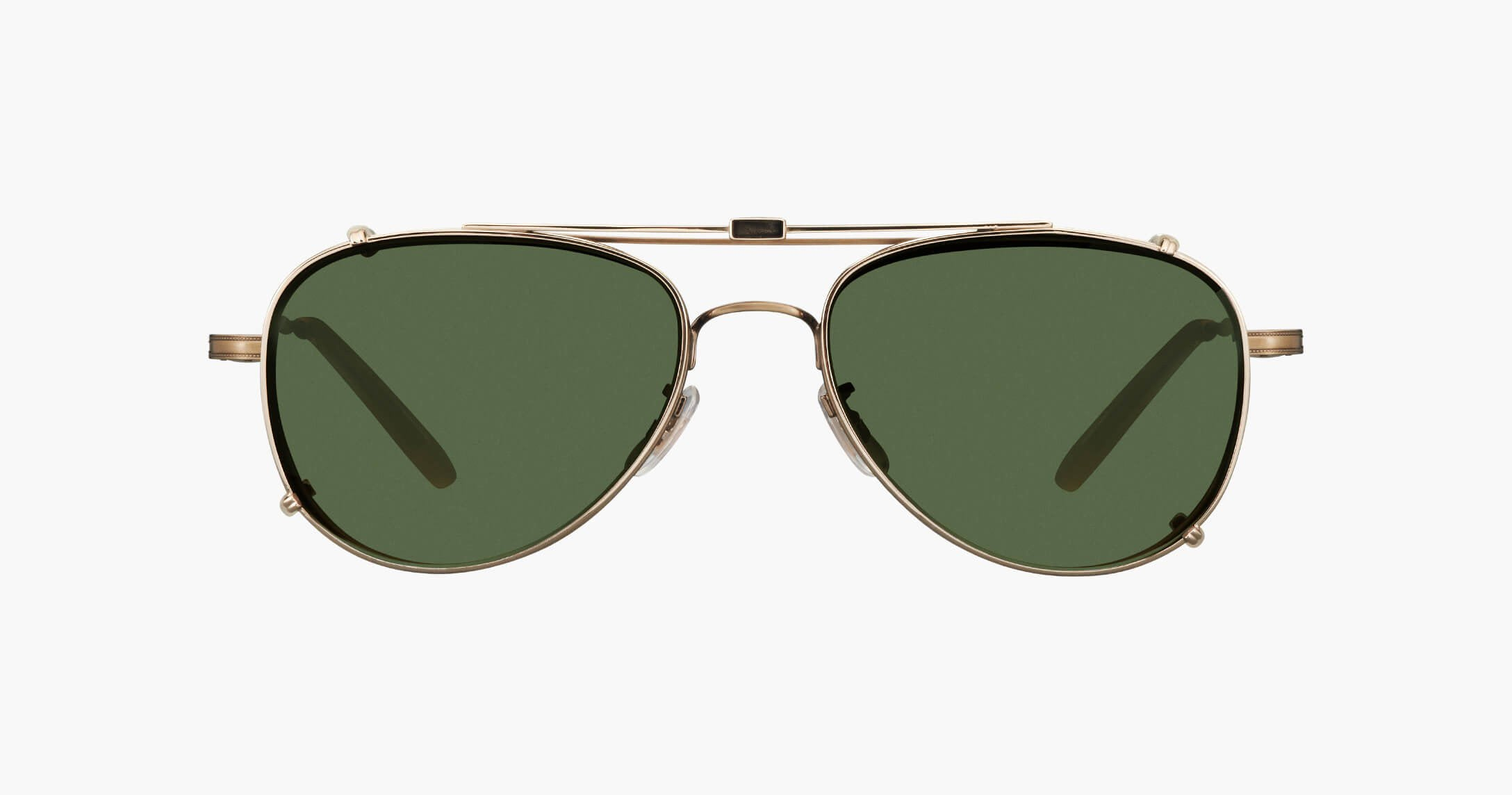 Garrett Leight - Linnie Brushed Gold Clip-On Shield / Green Lenses