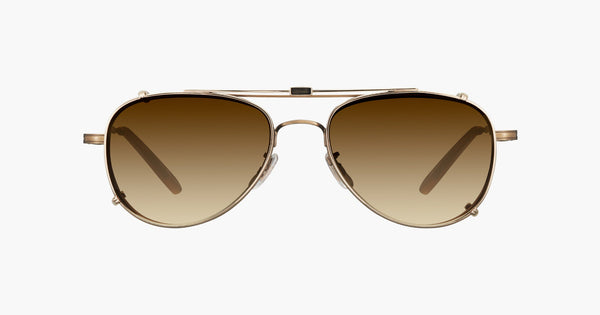 Garrett Leight - Linnie Gold Clip-On Shield / Sepia Gradient Lenses