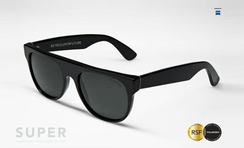 Super - Flat Top Small Black Polarized Sunglasses