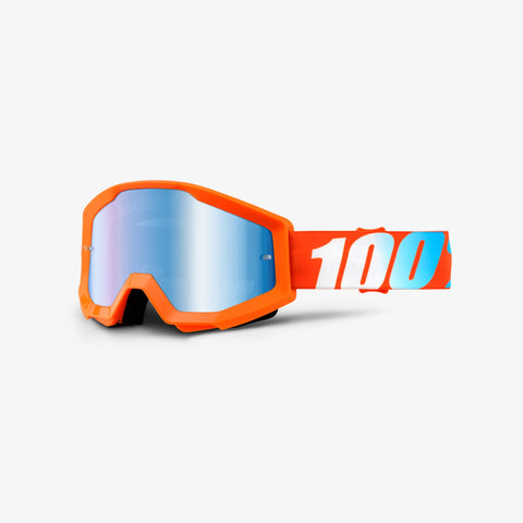 100 Percent - Strata Orange MX Goggles / Blue Mirror Lenses
