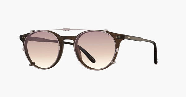 Garrett Leight - Clune Rose Gold Clip-On Shield / Sunrise Gradient Mirror Lenses