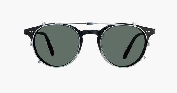 Garrett Leight - Clune Silver Clip-On Shield / Green Lenses