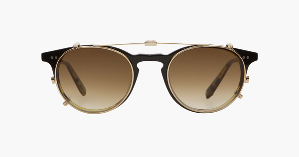 Garrett Leight - Winward 47mm Gold Clip-On Shield / Sepia Gradient Lenses