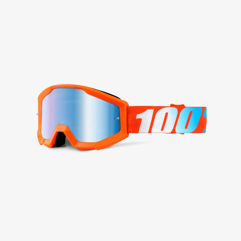 100 Percent - Strata JR Orange MX Goggles / Blue Mirror Lenses