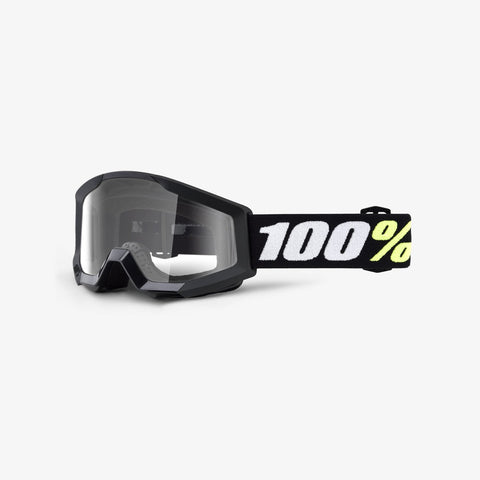 100 Percent - Strata Mini Black MX Goggles /  Clear Lenses
