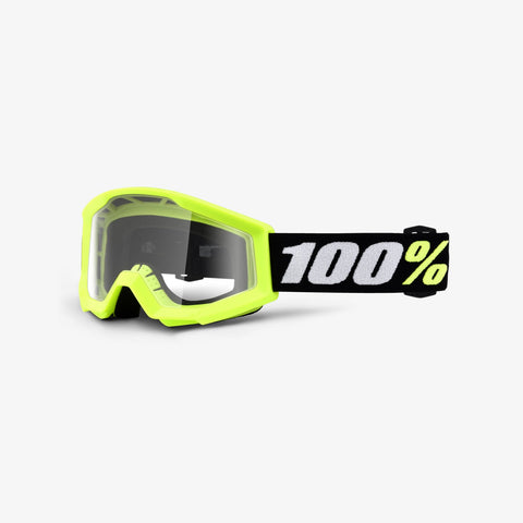 100 Percent - Strata Mini Yellow MX Goggles /  Clear Lenses