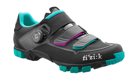 Fizik - Women's M6B Black Anthracite Emerald green Cycling Shoes