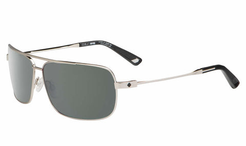 Spy - Leo GP Silver Sunglasses, Happy Grey Green Lenses