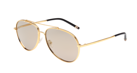 Boucheron - BC0003S Gold Sunglasses / Grey Mirror Lenses