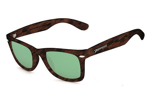 Peppers - Seaside Rubberized Matte Tortoise Sunglasses, Emerald Green Mirror Lenses