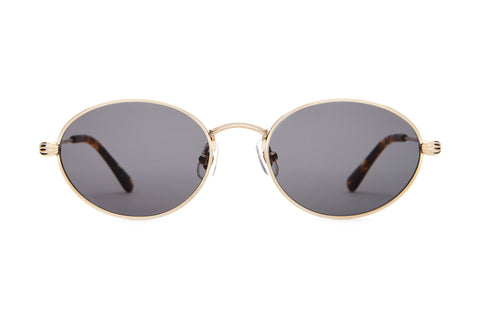 Crap Eyewear New Riddim Brushed Gold + Dark Tortoise Sunglasses / Grey Lenses