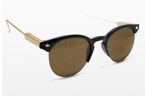 Spitfire - Astro Black & Gold Sunglasses, Brown Lenses