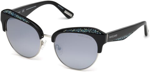 Marciano - GM0777 Shiny Black Sunglasses / Smoke Mirror Lenses
