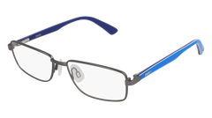 Puma - PJ0014O Junior Ruthenium + Light Blue Eyeglasses / Demo Lenses
