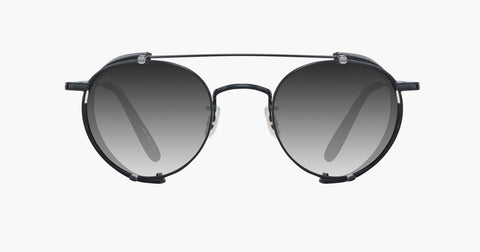 Garrett Leight - Wilson M Black Leather Clip-On Shield / Black Lenses