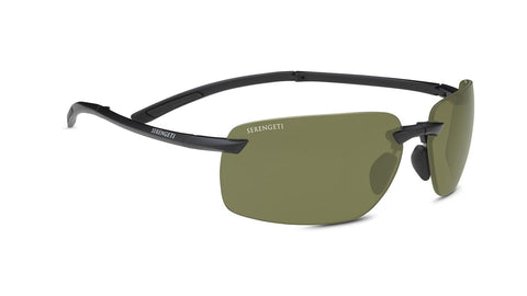 Serengeti - Vernazza Matte Black Sunglasses / Polarized 555nm Green Lenses
