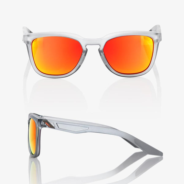 100 Percent - Hudson Soft Tact Translucent Crystal Grey Sunglasses / HiPER Red Multilayer Mirror Lenses