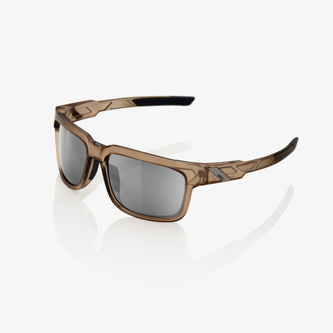 100 Percent - Type-S Matte Translucent Crystal Sepia Sunglasses / HiPER Silver Mirror Lenses