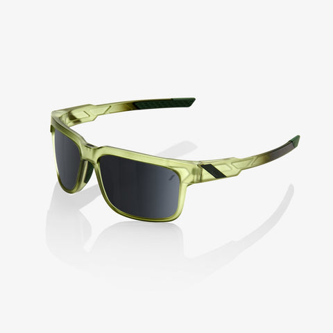 100 Percent - Type-S Matte Translucent Olive Slate Sunglasses / Black Mirror Lenses