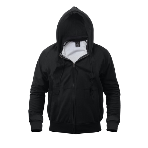 Rothco - Hooded Thermal Lined Black Sweatshirt