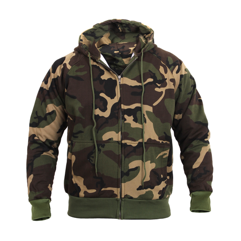 Rothco - Hooded Thermal Lined Woodland Camo Sweatshirt