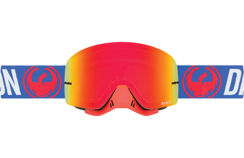 Dragon - NFX Flash Blue MX Goggles / Red Ion + Clear Lenses