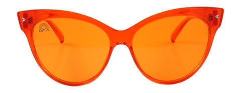 RainbowOPTX - Cat Eye Transparent Orange Sunglasses / Orange Lenses
