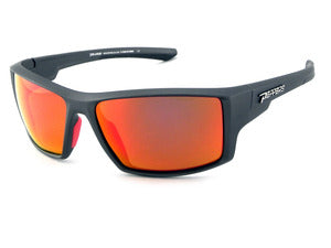 Peppers - Depth Charge Rubberized Matte Grey Sunglasses / Fire Red Mirror Lenses